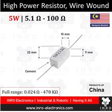 5W Cement Fixed Resistors, Axial type, 5% Tolerance, 5R1 - 100R