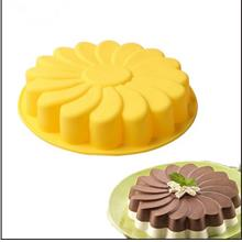 Silicone Single Large Round Bottom Sun Flower Pattern Cake Mold