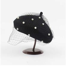 New Fashion Women Autumn Winter Berets Hats Beading Mesh Solid Color R