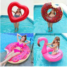 Inflatable donuts swimming rings coffee pink adult PVC sports swimming