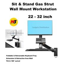NB MC32 Gas Strut Sit Stand Wall Mount Laptop Workstation 2457.1