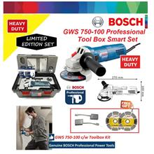 "Bosch GWS 750W (4"") 100mm Angle Grinder with ToolBox Smart Set"