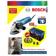 "Bosch GWS 750-100 (4"") Angle Grinder with Tool Box Smart Set"