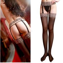 Garter Belt Suspender Set-Leopard Prints Lace-Panty Hose-Socks Holder