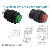16mm Latching ON / OFF Button With LED