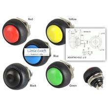 12mm Push On Button - Red, Yellow, Green, Black, Blue