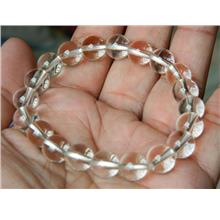 Very clear 10mm natural clear quartz round bracelet-28g-CQ17
