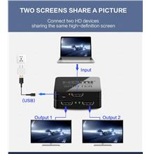 1in2out Dual Display 4K HDMI Splitter HDMI 1X2 Split Switcher HDTV
