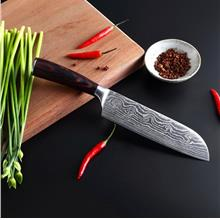 Damascus Steel Wooden Handle Santoku Kitchen Knife