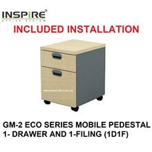 GM-2 ECO SERIES MOBILE PEDESTAL 1-DRAWER AND 1-FILING (1D1F)