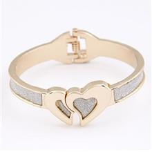 Fashionable Love Bangle - Silver & Gold