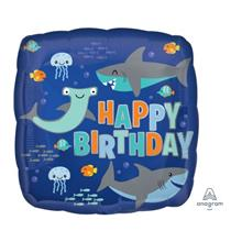 Happy Birthday Sharks 17 inches Foil Balloon Party Decoration 41289