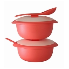 Tupperware Coral Blooms Round Server with Serving Spoon (2) 1.6L