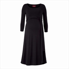 Women Maternity Nursing Dress Ruched Robe Round Neck 3/4 Sleeve Pregnancy Clot