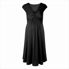 Women Maternity Dress One-piece Robe Ruched V-Neck Sleeveless Nursing Pregnanc