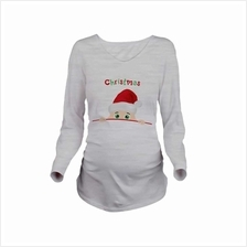 Maternity Shirt Long Sleeve Pregnancy Mom Tops Tee Christmas Santa