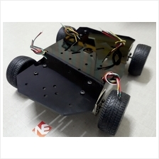Smart Car Chassis 4WD Black Assembled Robot Kit DC Motor Wheels