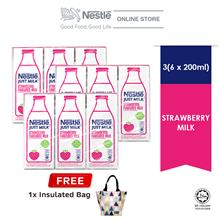 Nestle Just Milk Strawberry UHT 6x200ml cluster Buy 3 Free Insulated Bag)