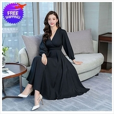 Vintage Design Women V Neck Long Sleeve Dress