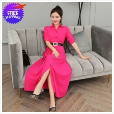 Bohemian Design Women Turn Down Collar Long Dress