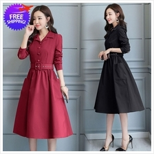 OL Women Knee Length Long Sleeve Dress