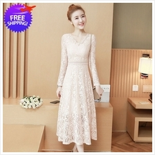 Women Mid Calf Long Sleeve Lace Dress