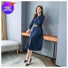 Vintage Design Women Mid Calf Long Sleeve Dress Shirt