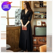 Elegant Design Women Mid Calf Long Sleeve Black Dress