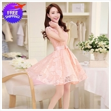 Korean Fashion Women Short Sleeve Lace Dress
