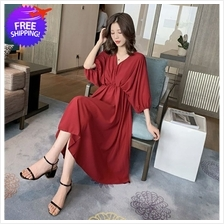 Women Loose Fit Knee Length V Neck Dress