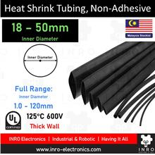 Heat Shrink Tubing | 18mm - 50mm, Non-Adhesive, Black (by meter)