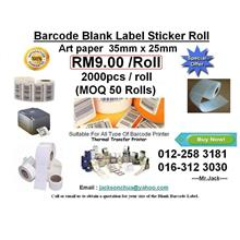 35mmx25mm Artpaper Label Barcode Sticker RM 9 per roll