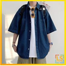 Large Size Loose Fit Men Denim Shirt For Youngster