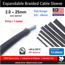 Expandable Braided Cable Sleeving, Wire Protection, PET, Black