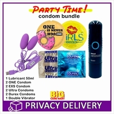 Party Time Condoms Total 8 (ONE, Durex, EXS, Ultra) + Lube + Vibrater