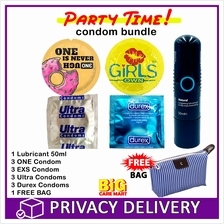 Party Time Condoms Total 12 (ONE, Durex, EXS, Ultra) + Lube + Bag