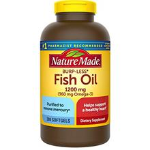 (FROM USA) Nature Made Burp-Less Fish Oil 1200 mg Softgels, 300 Count for Hear