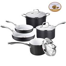 ..// AMERICOOK Black Pots and Pans Set, 8 Piece Hard Anodized Cookware Set - W