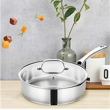 ..// EPPMO Stainless Steel 3.1-Quart Saute Pan with lid,Deep Pan 10 inch, Dish