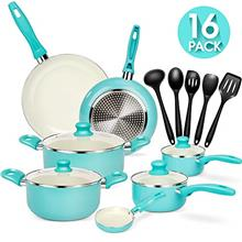 ..// 16 Piece Ceramic Nonstick Cookware Set Pans and Pots Set with Lids and Ut