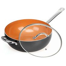 ..// SHINEURI Copper 12 Inch Frying Pan, Wok and Stir Fry Pans with Lid, Nonst