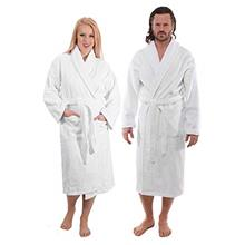 ..// Classic Turkish Towels Luxury Shawl Terry Bathrobe - Hotel and Spa Robe M