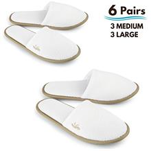 ..// BERGMAN KELLY Spa Slippers, Closed Toe (White, Cocoa Trim, 6 Pairs- 3 Lar