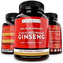 (FROM USA) ZANAPURE Organic Korean Red Panax Ginseng 1500mg, 100% Pure, High P