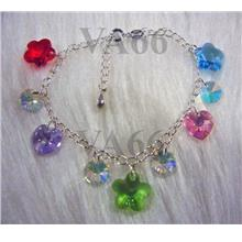Bridal Charm Bracelet Love Heart Flower Swarovski Crystal 925 Sterling