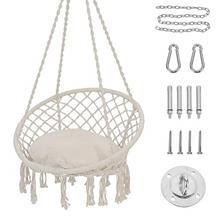 (FROM USA) Patio Watcher Hammock Chair Macrame Swing with Cushion and Hanging