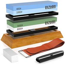 (FROM USA) Razorri Knife Sharpening Stone Kit, Double-Sided 400/1000 and 3000/