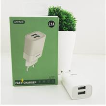 Dual USB Port 2.1A Output Fast Charging 2 Pin Travel Charger Adapter