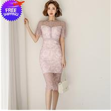 Women Lady Knee Length Formal Dinner Lace Dress