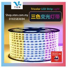 240V 3 Color LED Strip Light Warm White Blue Purple Tricolor Decor